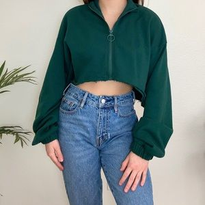 forever 21 dark green cropped o ring sweater